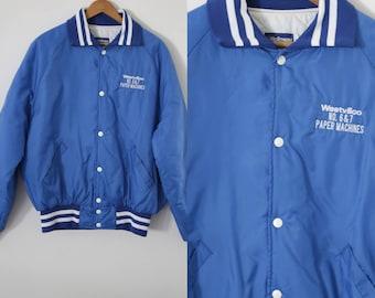 SALE - Rad Vintage Blue & White Bomber Jacket