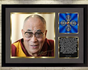 Dalai Lama signed poster autographed photo With frame picture FOR HAPPINESS FRAMED