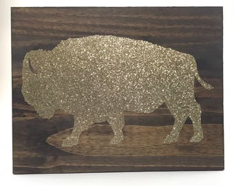 Buffalo NY standing bison Glitter reclaimed wood wall art