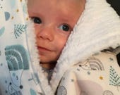Baby Boy Blanket with matching lovey; Minky Baby Blanket; Minky Chenille Baby Blanket; Woodland Baby Blanket; Minky Security Blanket