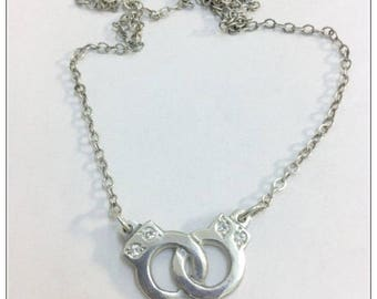 Discreet Day Collar with Handcuffs, Submissive Necklace and Chain, Submissive Choker, Sterling Silver, Four White Zircons