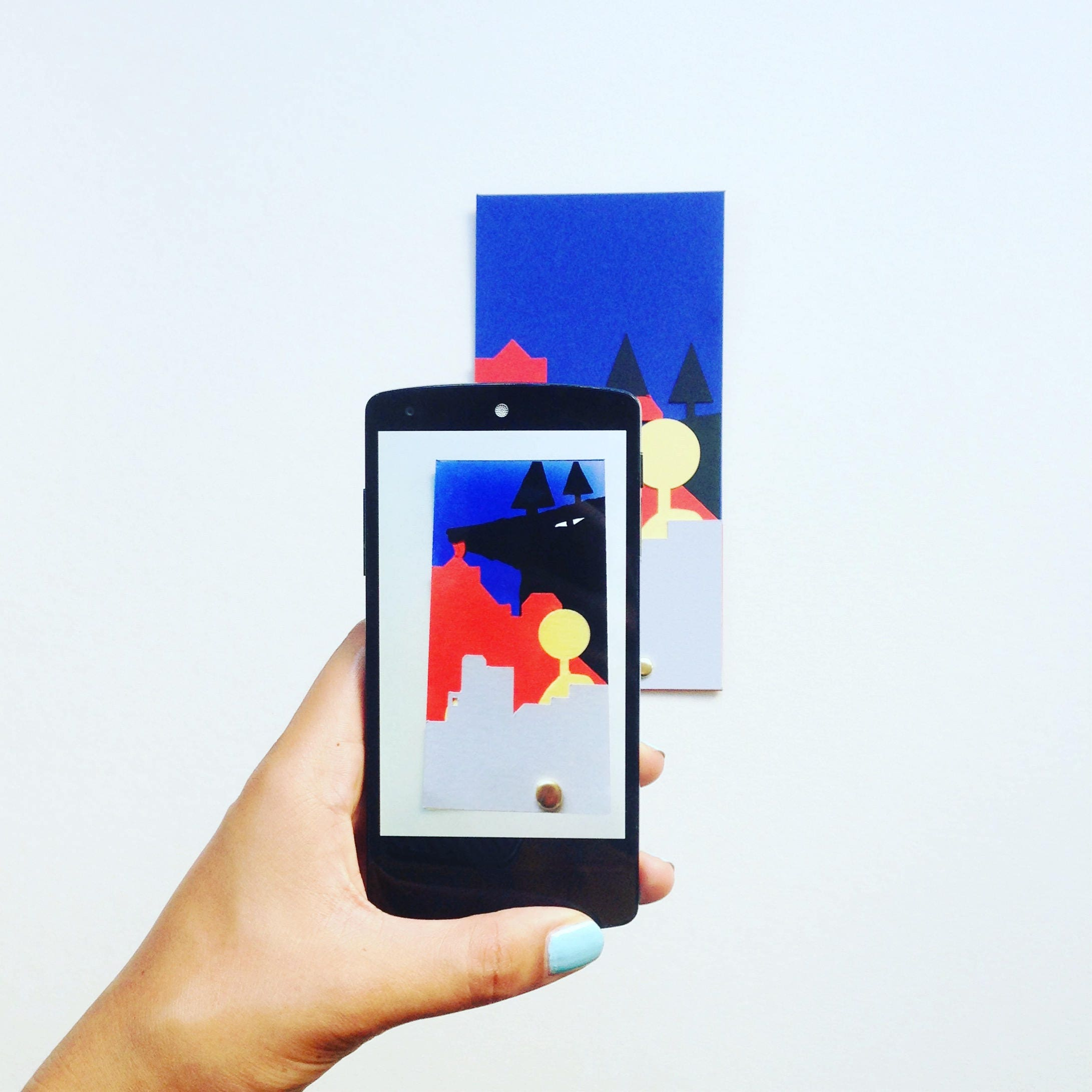 wolf animated paper card in augmented reality from the postal train
