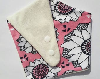 Pink flower bamboo and organic cotton bandana bib
