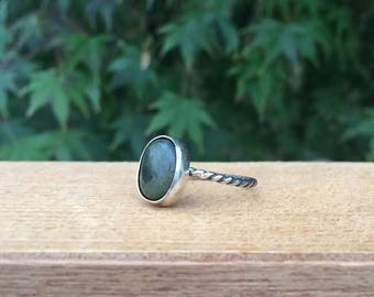 Silver Moss Agate Ring / Sterling Silver Ring / Twist Band Ring / Green Moss Agate / Agate Stack Ring / Twist Ring / Green Agate Ring