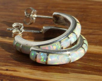 Sterling Silver and Opal Channel Inlay Earrings