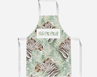 Zebra Apron.  Apron.  Choice of strap colours. Adult Apron. Child Apron.