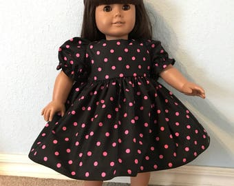 Pink Dot on Black Dress for American Girl or Other 18 inch Doll