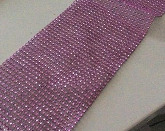 Rhinestone Ribbon 24 line 12 mm wide pink plastic