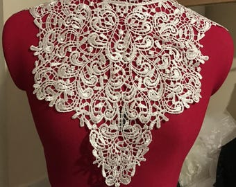 Applique sewing white collar lace lift