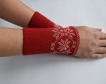 Red wrist warmers,  arm warmers with white seed beads, Traditional pattern, Cute handmade, Gifts for her