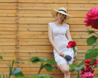 White lace dress - short dress with lace - sleeveless summer dress
