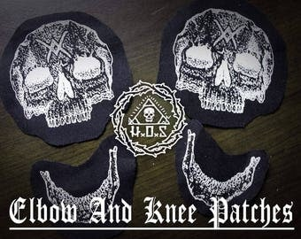Elbow And Knee Skull Patches // sold as pair or single