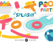 50% OFF SALE! Pool Party Clip Art, Water Balloons Clipart, Water Guns Clip Art - Commercial Use, Instant Download