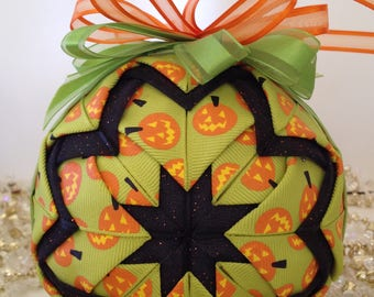 "Hand-Crafted Quilted Ornament - 4"" Pumpkin Star"