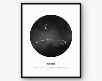Black and White Pisces Constellation Wall Art, Zodiac Sign Print, Astrology Poster, Scandinavian Nordic Modern Decor, Digital Printable Art