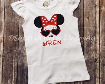 Minnie Mouse Girl's Shirt Disney Sunglasses