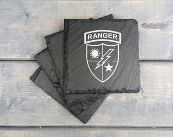 Rangers Slate Coasters | Army Ranger | Laser Engraved | Slate Coasters | Army | Ranger | Sua Sponte | Special Forces | Coasters | Set of 4