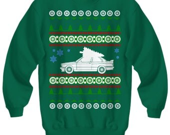 new BMW E30 M3 premium Ugly Christmas Sweater euro stance bbs Sweatshirt lowered porsche mercedes miata holidays  m3