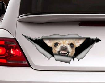 Chihuahua sticker, chihuahua car decal, Vinyl decal, car decoration, pet decal, dog sticker, dog decal