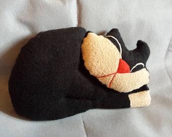 Pillow towel cat black 35 x 25 cm fabric