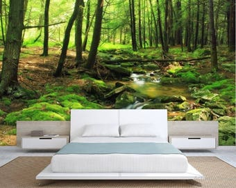 FOREST wallpaper, river forest wall mural, green forest wallpaper, forest mural, green forest wall decal, river forest wallpaper, river ,