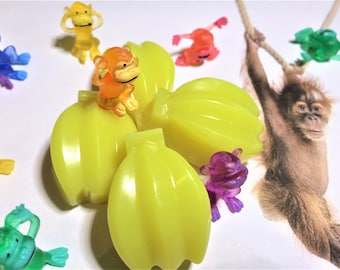 Set of 8-10 Mini Banana Soaps & 8-10 Tiny Funny Plastic Monkey Figures - Kids Birthday Favors-Boys Favors-Girls Favors