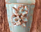 Pottery Dogwood Wall Vase in Turquoise