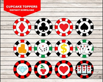Casino Night Poker cupcakes toppers instant download, Casino Toppers
