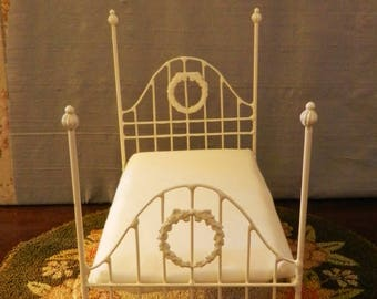 "NEW!! Our ""CHIC and CHEAP"" line is now live! Artisan Made Dollhouse Miniature Wrought Iron Look Bed ""Juli"" 1:12 Scale Twin and Full"