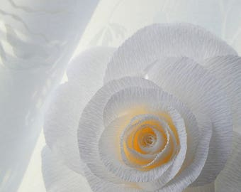 Large white paper rose, presented in a glass single stem vase.