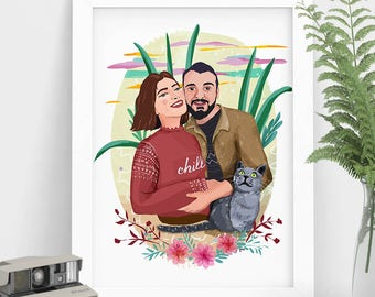 Custom illustration, Couple Portrait, Printable Valentines Drawing, Custom Drawing, Personalized Gift For Boyfriend, Valentines Gift, Custom