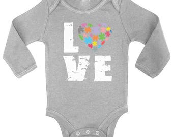 Autism Awareness Love Puzzles Baby Long Sleeve Bodysuits One Piece   Autistic Support Puzzle Piece ASD Autism