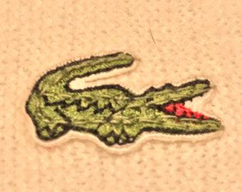 Vintate 1980's Lacoste/Izod white cardigan XL Alligator logo V-neck off white base color designer sweater vintage crewneck