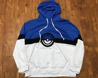 Pokémon Hoodie Bootleg XXL White and blue unisex Pokémon Ball graphics/Logo in the middle Yugioh trading cards Magic Harry Potter shirt