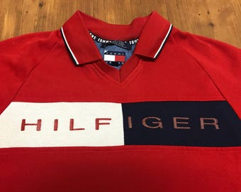 Vintage Tommy Hilfiger polo 1990's Spell out shirt Cycling jersey soccer jersey 90's hip hop Polo RL p wing