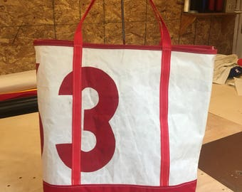 Sail Cloth - Recycled Sail Tote with Red Bottom and Handles