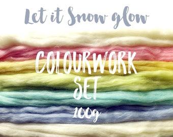Spinning fibre - Pastel sparkle - 100g - 3.5oz - Let it Snow glow Colourwork set