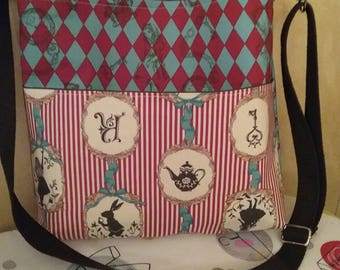 Alice in Wonderland red and teal crossbody bag purse