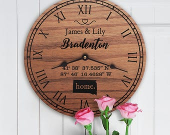 GPS Coordinates Clock - Home State - Personalized Family Clock - Last Name - Family Gift - Personalized Gift For Family - GPS Coordinates