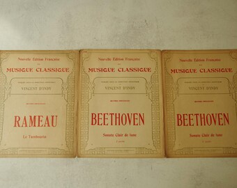 1920s Music score, Classical Music. set of 3 Rameau Beethoven. Paris music publisher.