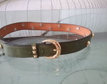 Vintage green leather with studs dark belt