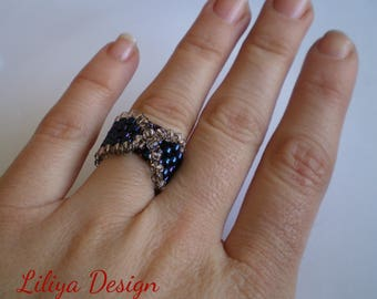Stylish peyote ring X shape two colours ring Seed bead ring Ring for her Beaded jewelry Blue ring Small ring Women gift Beaded ring