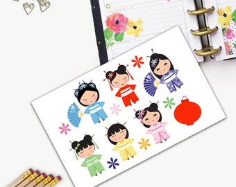 Kokeshi Doll Stickers, All Happy Planner Stickers, Add On Set, Stickers, Printed, Cut, Functional Sticker, Any Planner, Japanese Doll