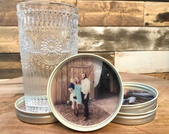 Personalized Photo Mason Jar Lid Coasters/Set of 4 Custom With Your Photos! Great Gift Idea!