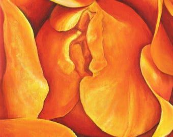 Original Artwork. Homemade Yellow/Orange Rose Macro Art. Small/Medium Wall Art, Acrylic Painting