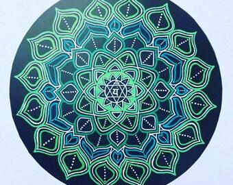 Heart Chakra Healing Art. A4 print on high quality card.