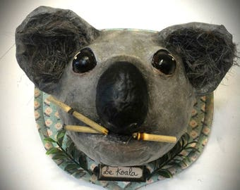 UNIQUE piece available - Trophy decorative handmade Koala head.