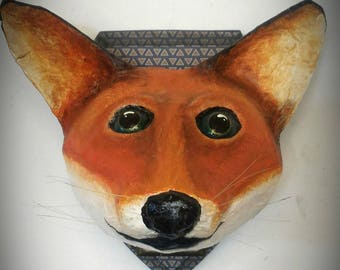 UNIQUE piece available - Trophy decorative hand made Fox head.