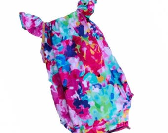 Bold Watercolor Baby Infant Romper Outfit size 0-12 months