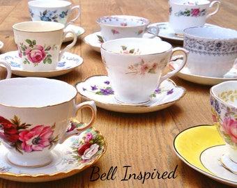 75 mismatch teacups, mismatched china, mismatched, high tea, tea party, madhatter tea party, teacups, joblot teacups, vintage crockery